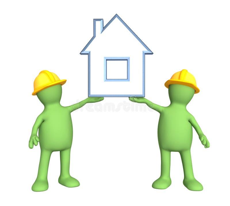 Dois construtores, realizando nas mãos a casa estilizado ilustração royalty free