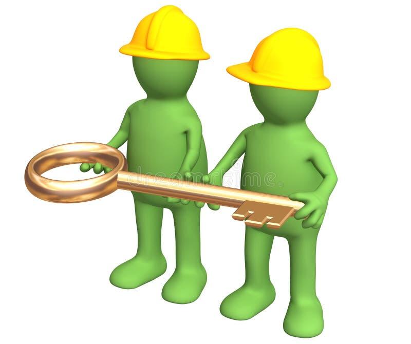 Dois construtores, realizando nas mãos uma chave do ouro ilustração do vetor