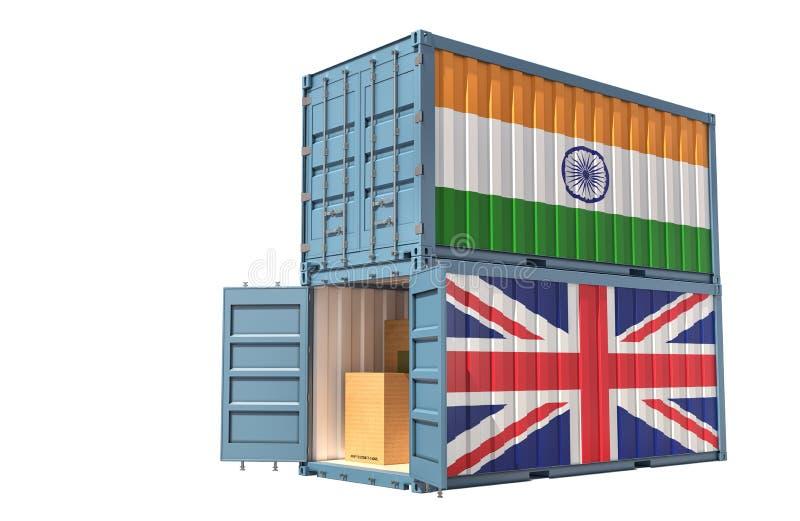Dois contentores de transporte de mercadorias com pavilhão da Índia e do Reino Unido Isolado em branco ilustração stock