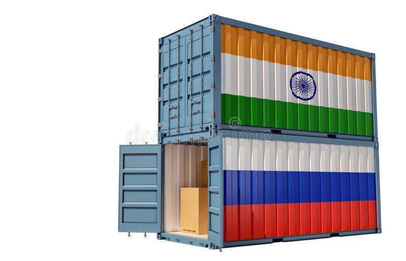 Dois contentores de transporte de mercadorias com pavilhão da Índia e da Rússia Isolado em branco ilustração stock