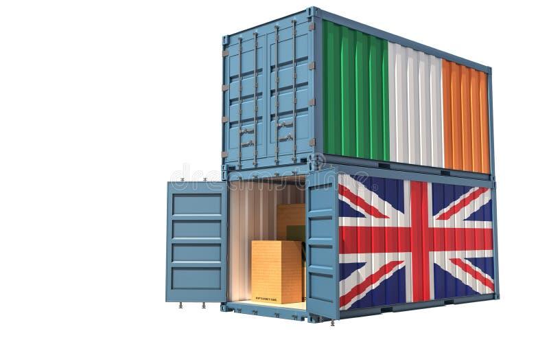 Dois contentores de transporte de mercadorias com pavilhão da Irlanda e do Reino Unido Isolado em branco ilustração stock