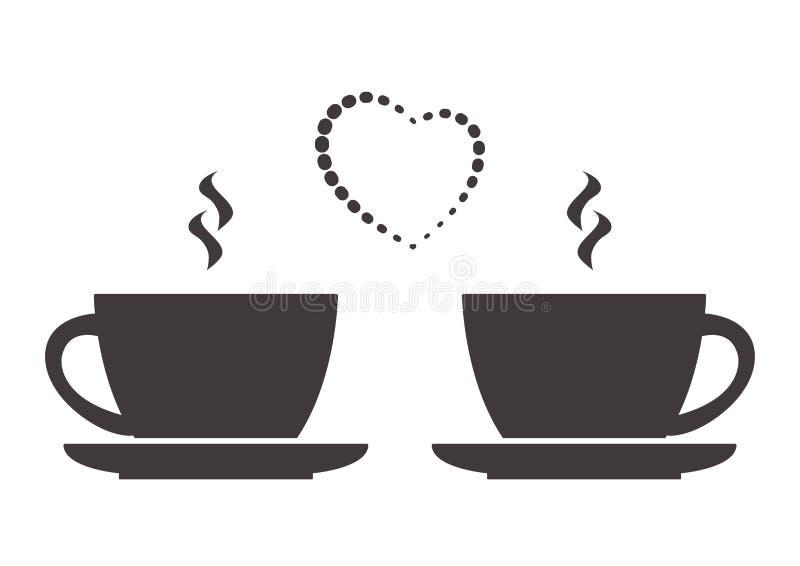 Dois copos da bebida e do coração quentes Amor, café da manhã romântico ou jantar Vetor ilustração stock