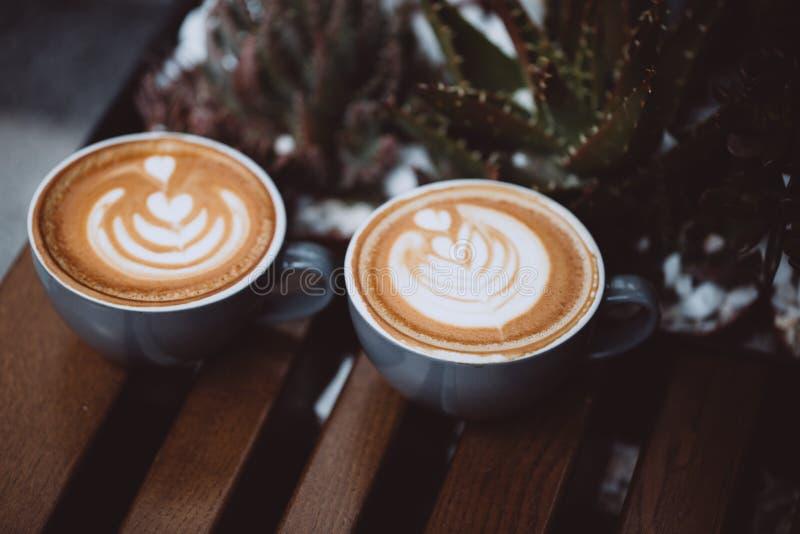 Dois copos do cappuccino imagem de stock