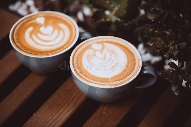 Dois copos do cappuccino foto de stock