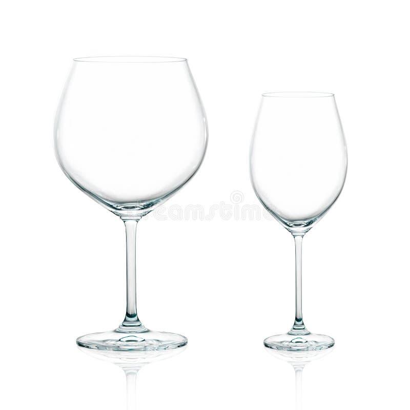 Dois copos elegantes do vinho isolados fotografia de stock royalty free