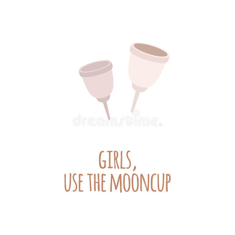 Dois copos menstruais do eco zero do desperdício em um estilo liso com meninas do texto, usam o mooncup ilustração do vetor