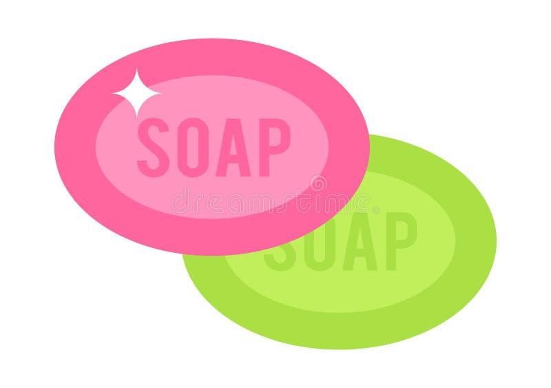 Dois cor-de-rosa e as partes verdes ensaboam a ilustração lisa do vetor dos desenhos animados em um fundo branco ilustração do vetor