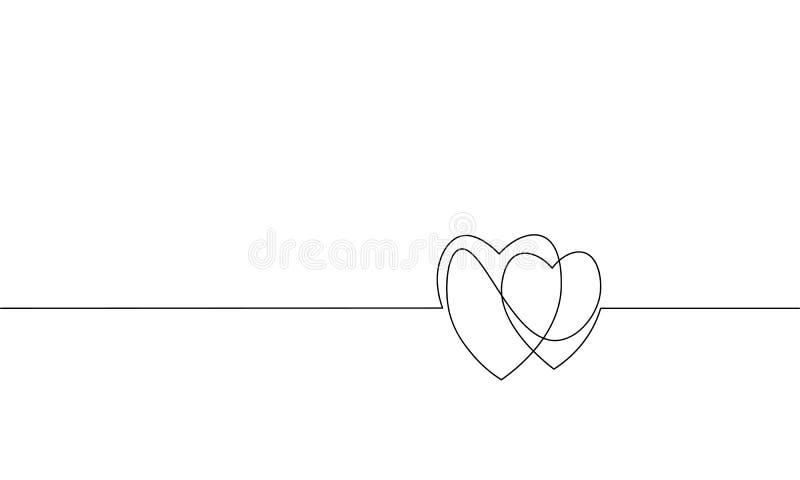 Dois corações amam a única linha arte contínua romântica Conceito da silhueta dos pares do relacionamento da data da paixão da pu ilustração stock