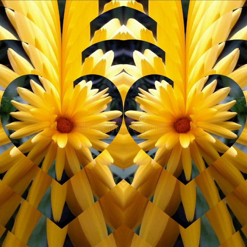 Dois corações amarelam a flor imagem de stock royalty free