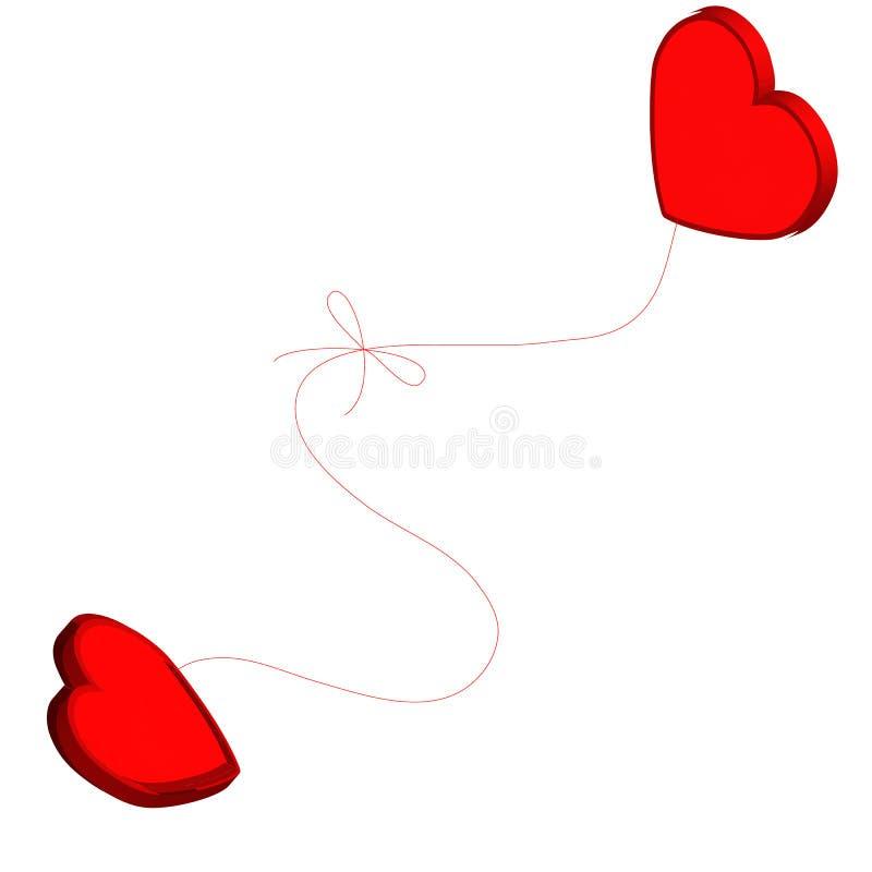 Dois corações amarrados junto ilustração do vetor