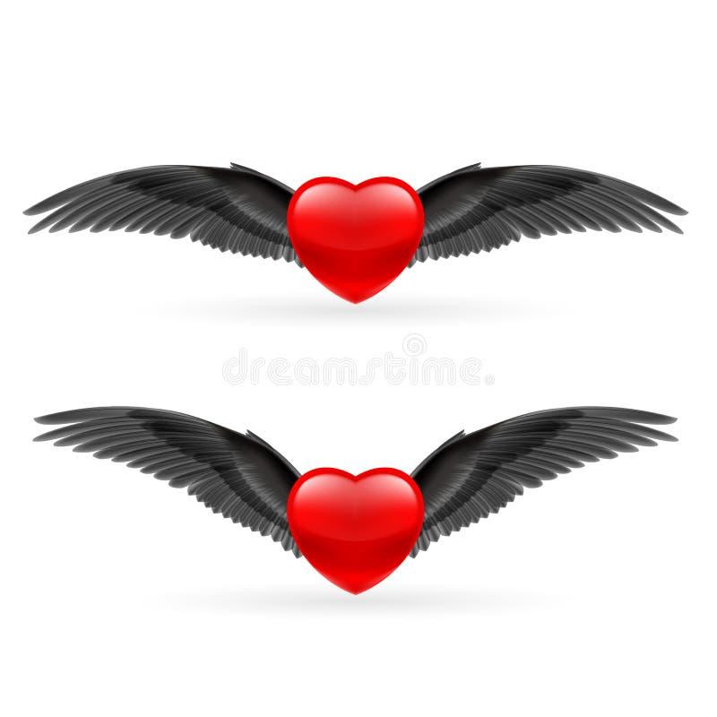 Dois corações com asas ilustração do vetor