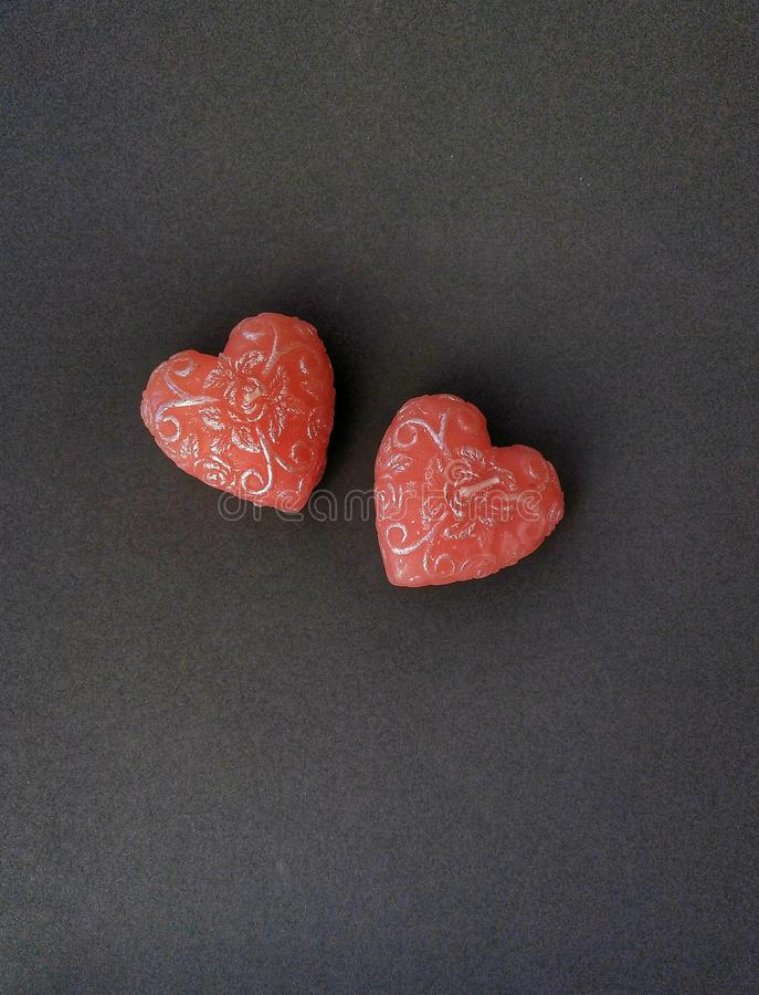Dois corações da vela imagens de stock royalty free