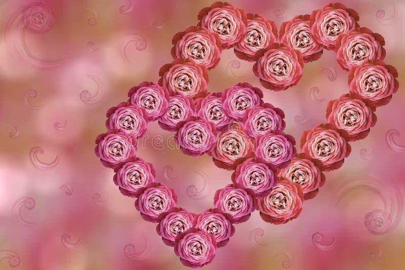 Dois corações de rosas cor-de-rosa-vermelhas das flores no bokeh cor-de-rosa-alaranjado borrado do fundo Arranjo de flor no dia d ilustração royalty free