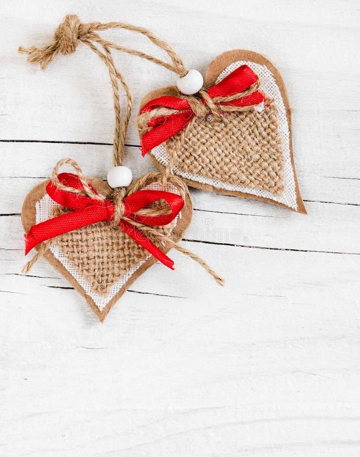 Dois corações decorativos imagens de stock royalty free