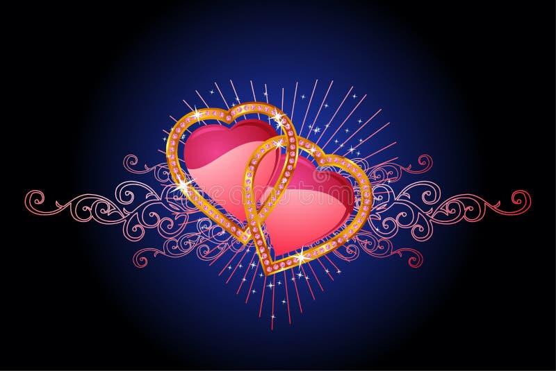 Dois corações do amor/vetor ilustração stock