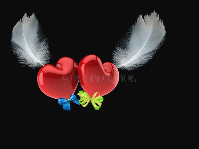 Dois corações dos amantes sobem nas asas da felicidade fotos de stock