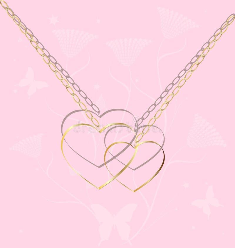 Dois corações dourados em uma corrente ilustração stock