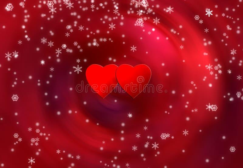 Dois corações e flocos da neve ilustração royalty free