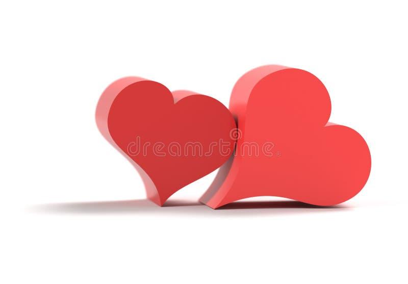 Dois corações isolados junto na ilustração 3d branca fotografia de stock royalty free