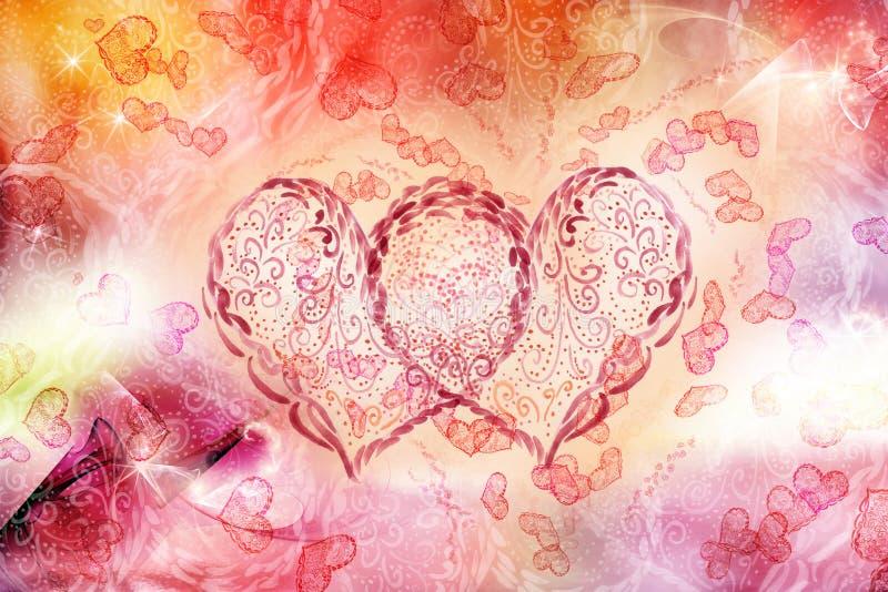 Dois corações junto ilustração stock