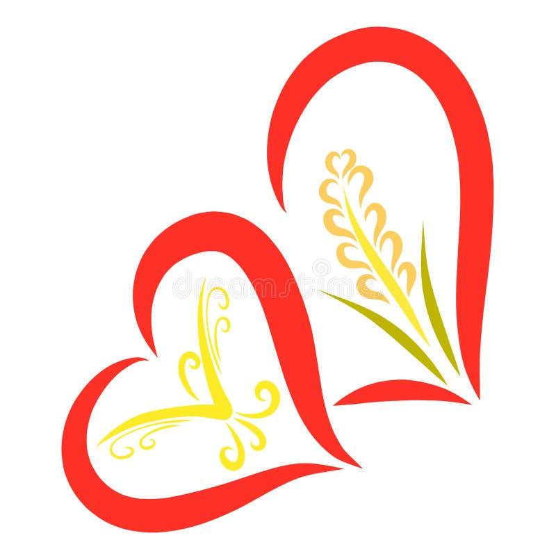 Dois corações junto, com um pássaro gracioso e uma orelha do trigo ilustração stock