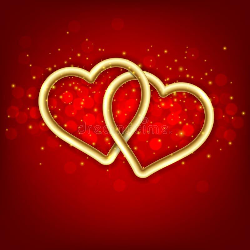 Dois corações ligados dourados. ilustração stock
