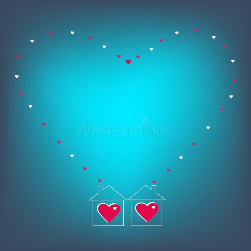 Dois corações loving duas casas completamente do amor ilustração royalty free