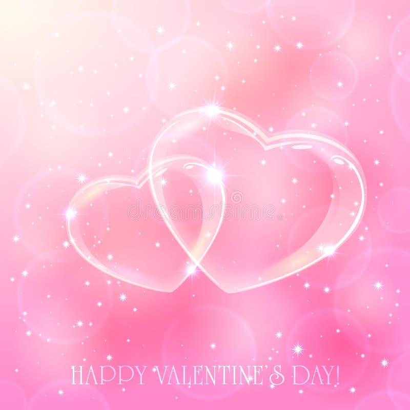 Dois corações no fundo cor-de-rosa ilustração do vetor