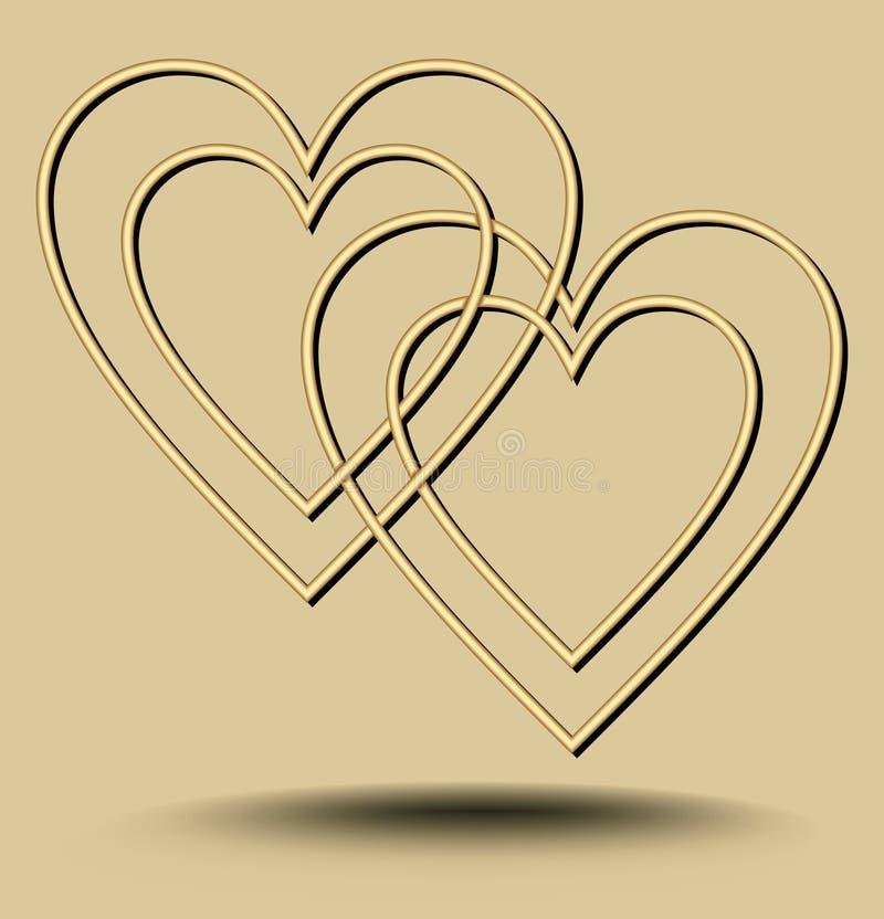 Dois cora??es que sobrep?em no fundo dourado claro com os elementos ondulados gravados, motivo luxuoso minimalista do amor ilustração do vetor
