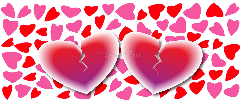 Dois corações quebrados no fundo dos corações, cartão do amor ilustração stock