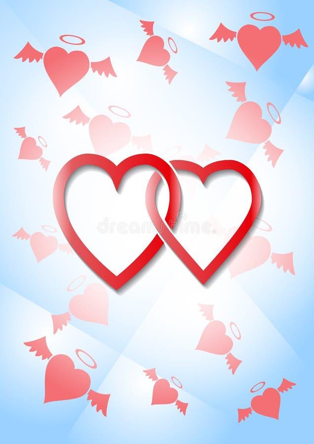 Dois corações tecidos junto ilustração stock