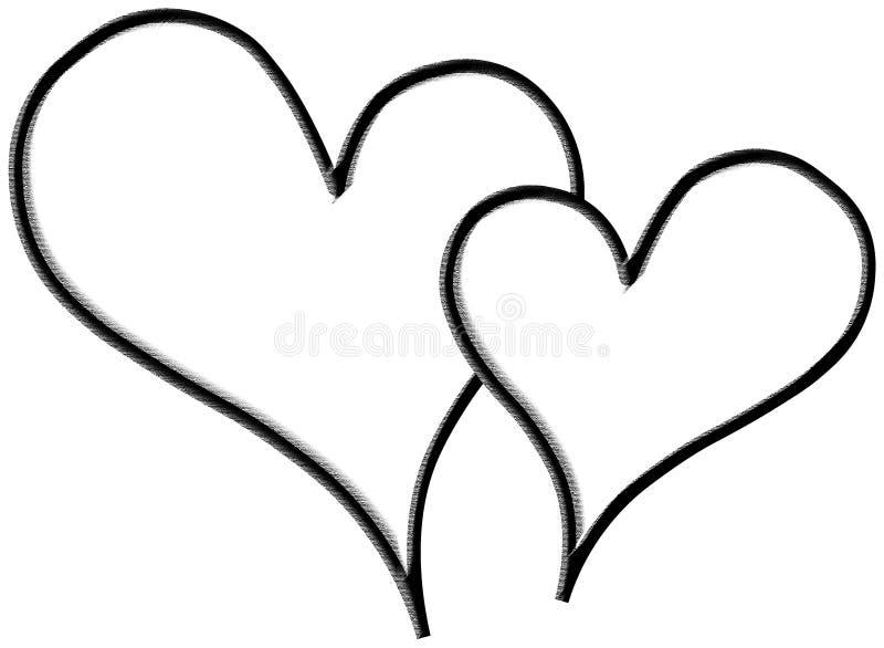 Dois corações vazios no fundo branco fotografia de stock royalty free
