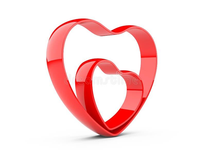Dois corações vermelhos ilustração do vetor