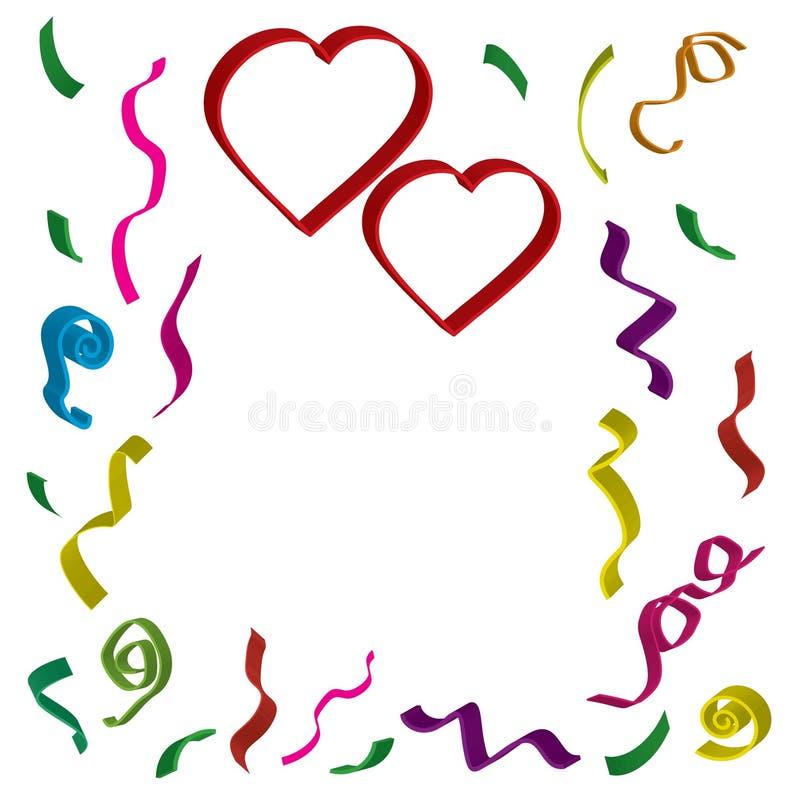 Dois corações vermelhos com fitas e confetes em cores diferentes em 3 d no fundo branco ilustração do vetor