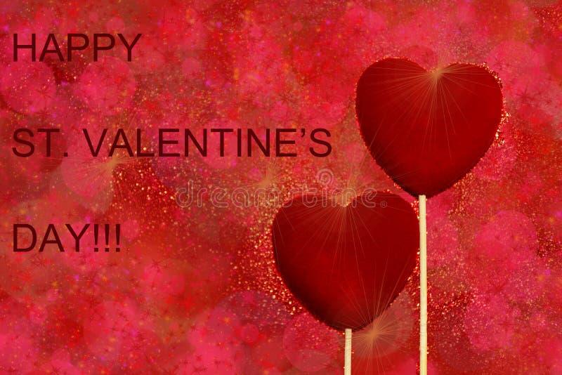 Dois corações vermelhos de veludo em uns tons vermelhos e cor-de-rosa brilham fundo Cartão dos cumprimentos do dia de Valentim do foto de stock