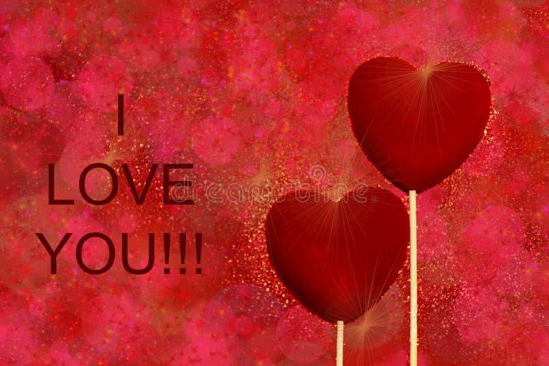 Dois corações vermelhos de veludo em uns tons vermelhos e cor-de-rosa brilham fundo Cartão dos cumprimentos do dia de Valentim do fotos de stock royalty free