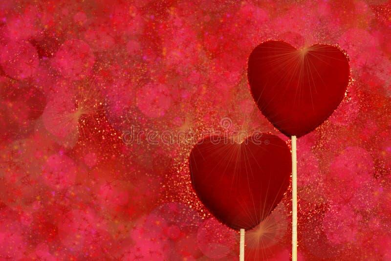 Dois corações vermelhos de veludo em uns tons vermelhos e cor-de-rosa brilham fundo Cartão dos cumprimentos do dia de Valentim do imagens de stock