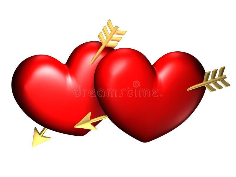 Dois corações vermelhos e chubby grandes ilustração stock