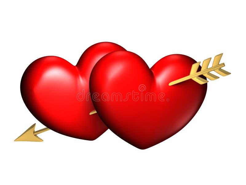 Dois corações vermelhos e chubby grandes com uma seta ilustração royalty free