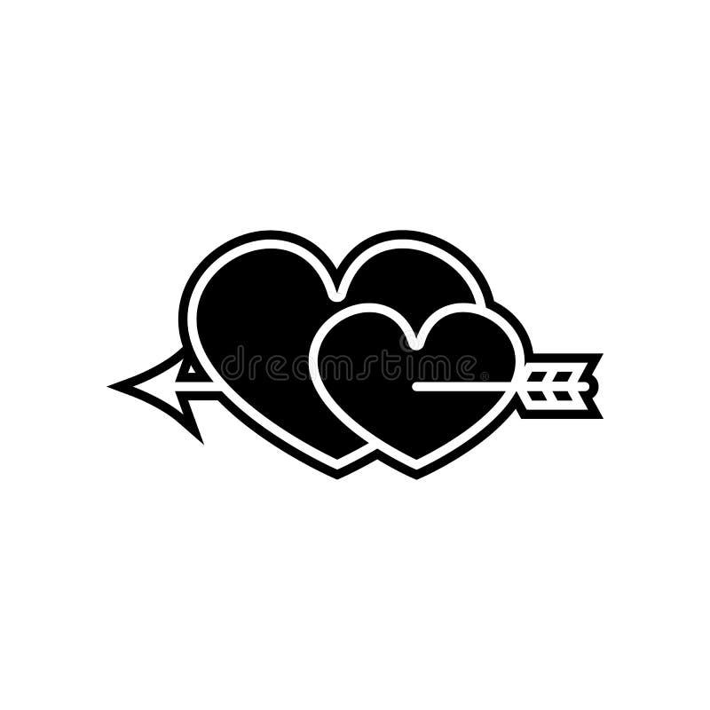 dois cora??es perfurados com um ?cone da seta Elemento do Valentim para o conceito e o ?cone m?veis dos apps da Web Glyph, ?cone  ilustração stock