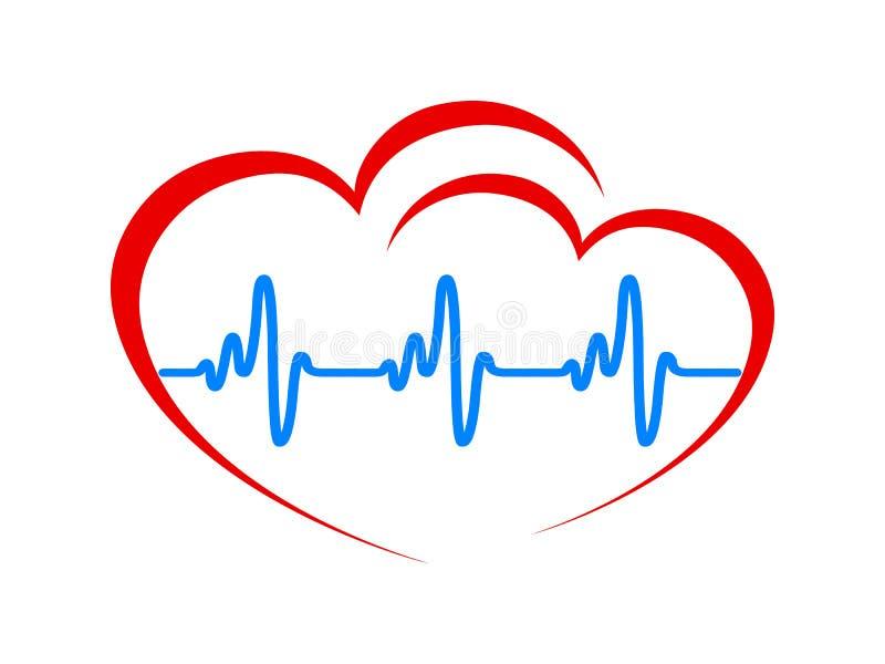Dois cora??o, linha do pulso um, sinal do cardiograma, pulsa??o do cora??o - vetor ilustração do vetor