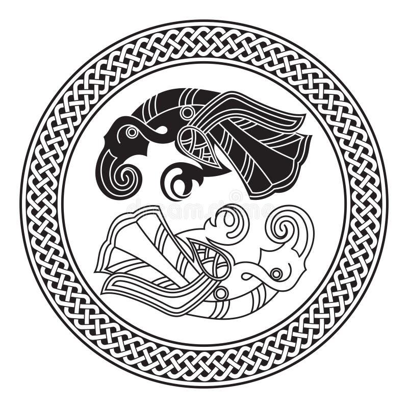 Dois corvos do deus Odin In Scandinavian Style Huginn e Muninn ilustração do vetor