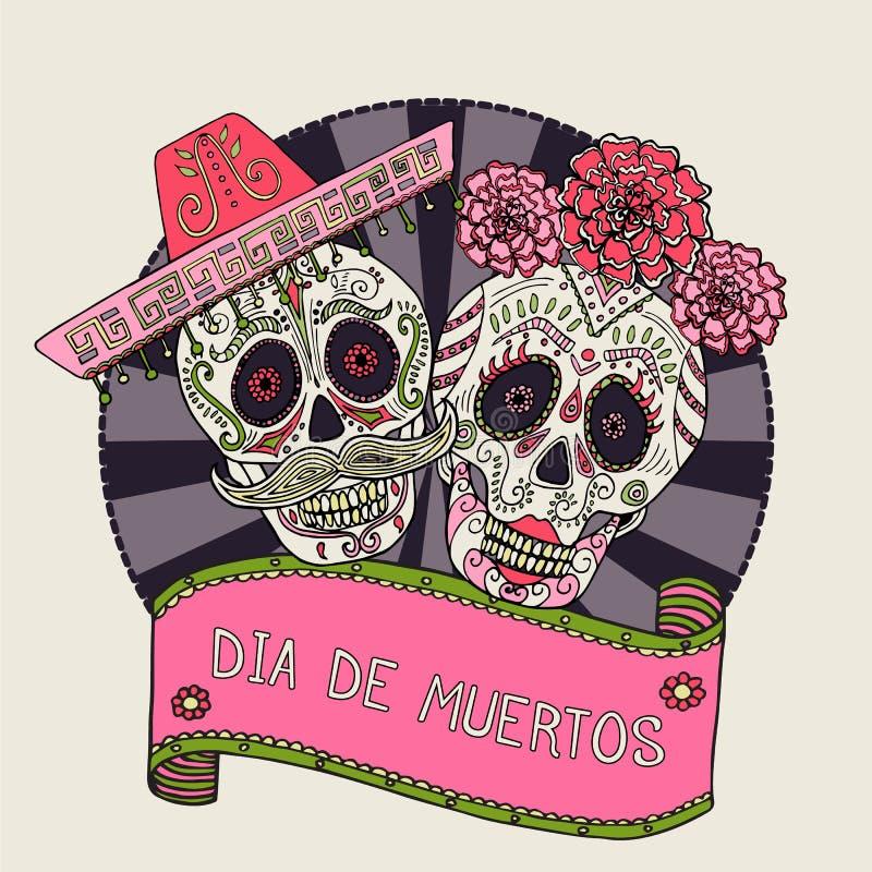 Dois crânios do açúcar vector a ilustração para o dia dos mortos foto de stock