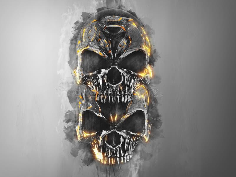 Dois crânios preto e branco com bordas alaranjadas brilhantes ilustração royalty free