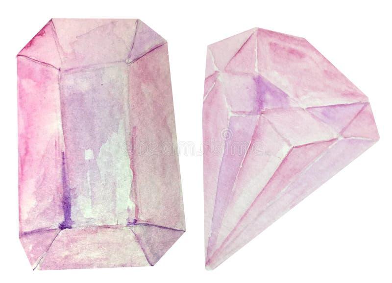 Dois cristais cor-de-rosa da aquarela em um fundo branco ilustração da aquarela para o projeto e a decoração dos cartazes fotos de stock royalty free
