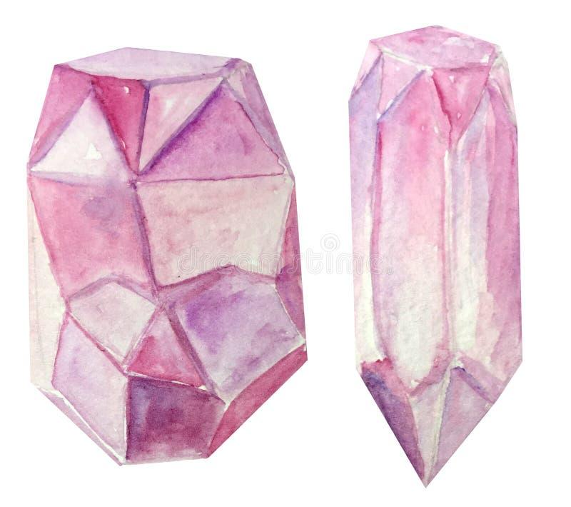 Dois cristais cor-de-rosa em um fundo branco ilustração da aquarela para o projeto e a decoração dos cartazes, compartimentos fotos de stock royalty free