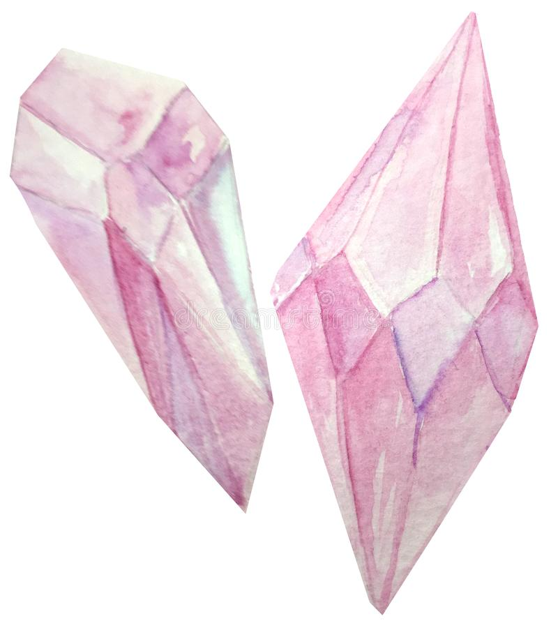 Dois cristais cor-de-rosa em um fundo branco ilustração da aquarela para o projeto e a decoração dos cartazes, compartimentos imagem de stock