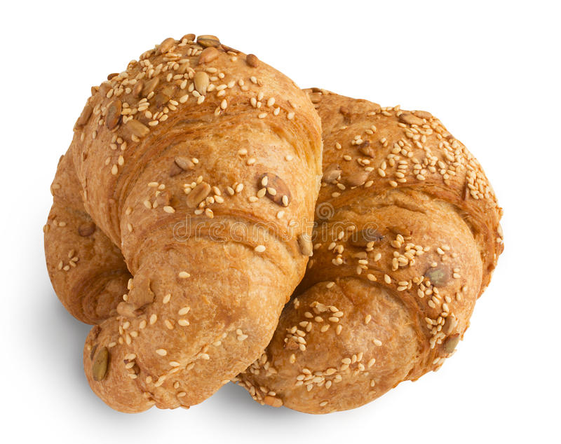 Dois croissant isolados em um fundo branco imagem de stock royalty free