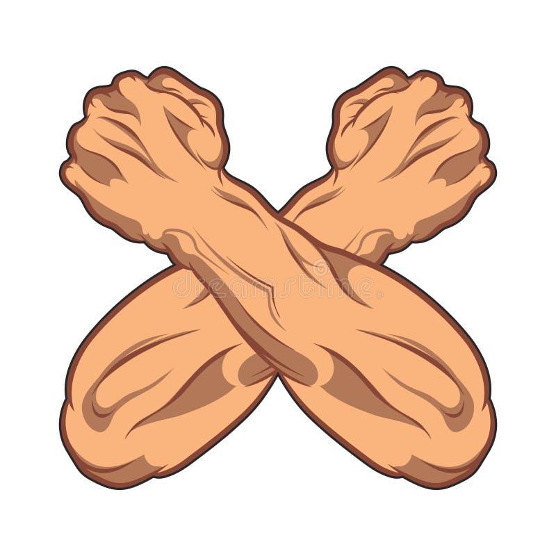 Dois cruzaram as mãos apertadas em uma ilustração de banda desenhada preto e branco do punho Ícone do Gym ilustração stock