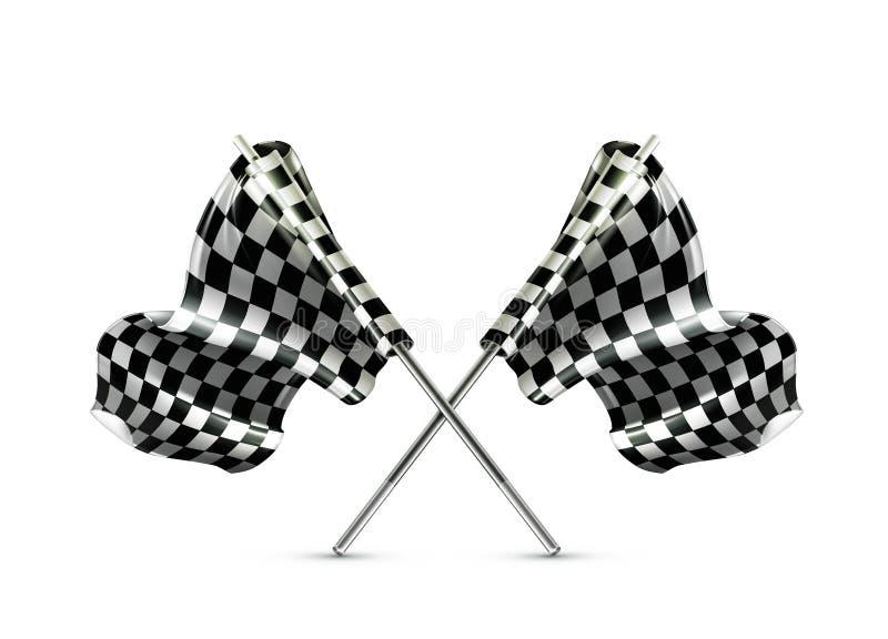 Dois cruzaram bandeiras checkered ilustração royalty free
